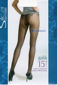 Galà 15 denier - Pantyhose 15 denier with transparent top and pants embroidered.