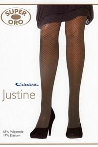Justine 20 denier - Pantyhose 20 denier smooth with small drawings of the entire sock.