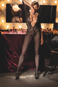 Cadillac swimsuit - Microfibre fishnet bodystocking with sleeves and lace on the bust type designs.)