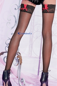 Fly hold-ups - 40 denier stockings with red tie behind)