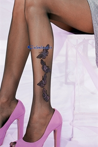 Party pantyhose - 40 denier tights with butterflies in glitter on ankle )