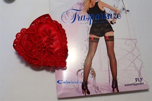 Fly hold-ups with red thong - Pack with stockings and red thong)
