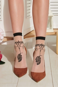Sheer socks Cacao - Sock with tattoo design)
