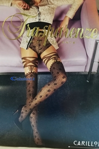 Carillon tights - 40 denier tights with fake parisian stocking.)