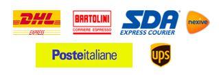Logo DHL, bartolini, sda, Poste Italiane, ups, nexive